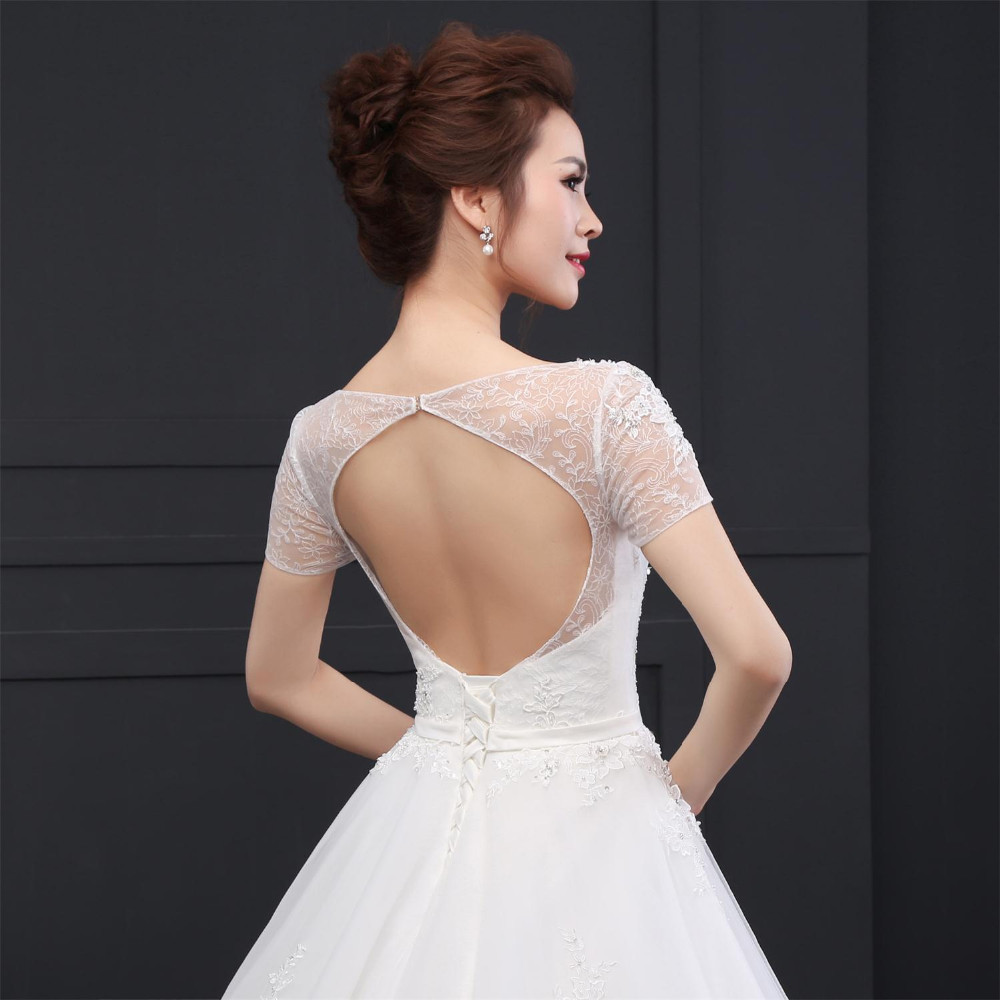SLD003 New Arrival A-Line Short Sleeve Open Back Beaded Tulle Vestido de noiva