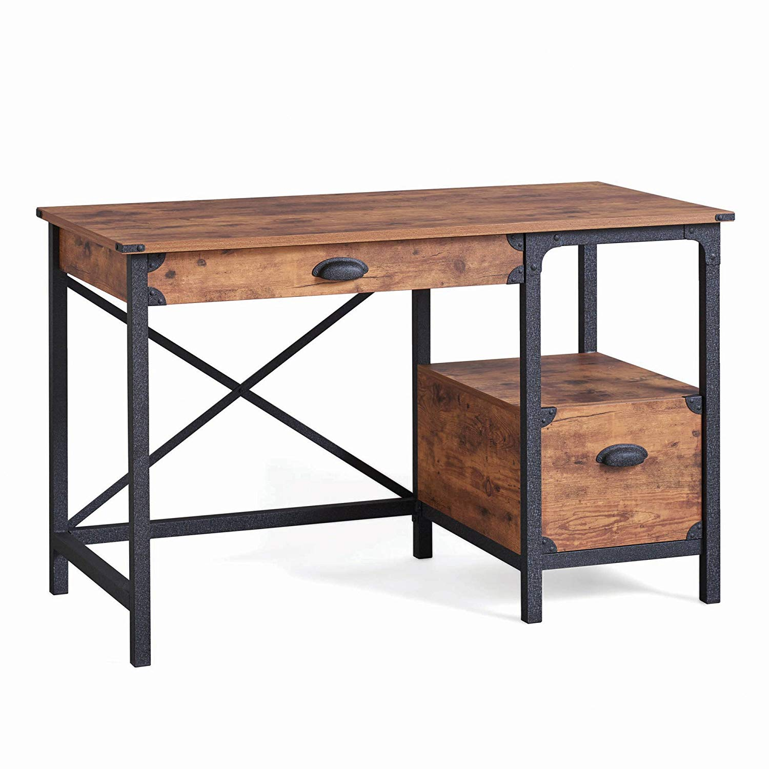Rustic Country Desk, Weathered Pine Finish, 2 Drawers, Metal Runners, Safety Stops, Open Shelf, Made from Engineered Wood, Bundle with Our Expert Guide with Tips for Home Arrangement