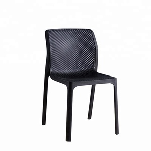 Eco-friendly PP black Stackable Armless restaurant hotel canteen modern Outdoor adult backrest dining Plastic chair