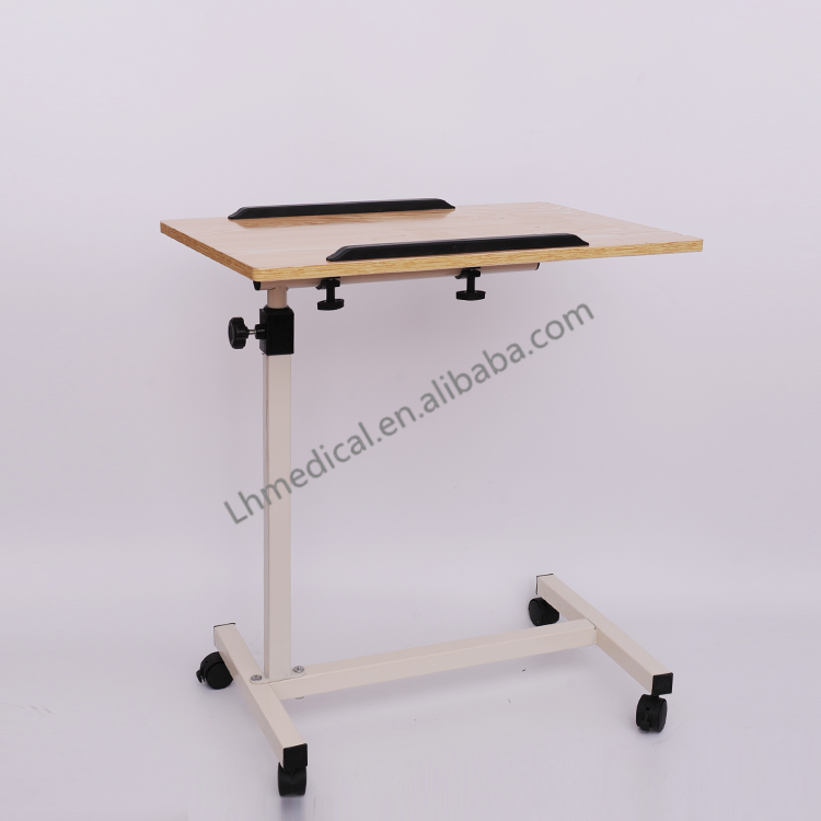 Folding bedside tray tables with wheels