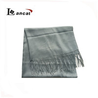 2017 high quality cheap ladies soft blue twill scarf shawl with tassel