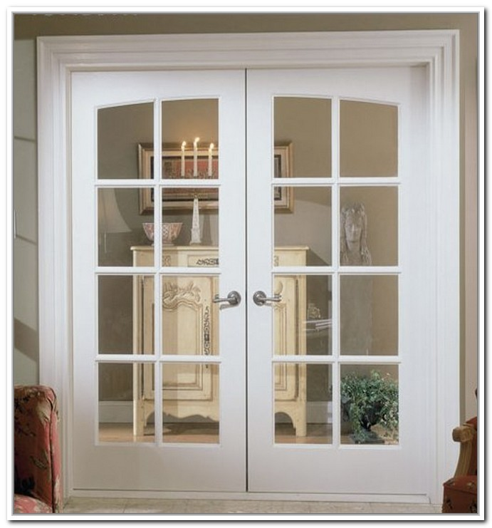 White prefinished solid core clear glass interior french for Prehung french doors