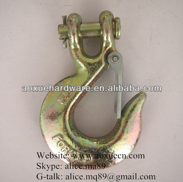 painted iron high tension clevis hoist hook with latch