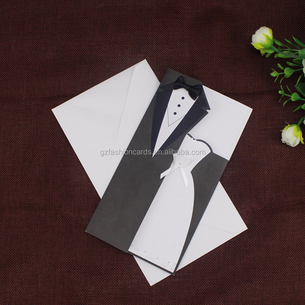 Modern Chic White Black Bride Groom Wedding Invitations with Ribbon