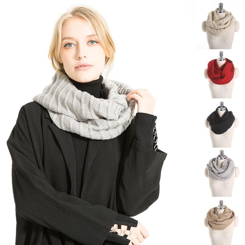Warm Winter Chunky Jacquard Loop Scarf Crochet Infinity Scarf For Women ee110ec25a0c