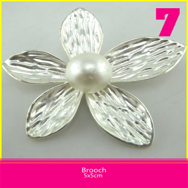 5*5 cm One Pearl Setting Silver Plated Safety Pin Brooch On Sale For Decoration