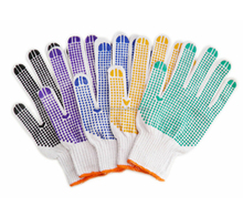 PVC Dotted Construction Cotton Safety Hand Work Gloves