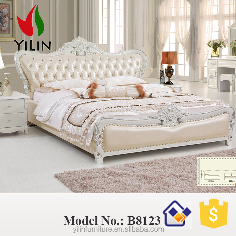 Pink European design bed room furniture wood double bed