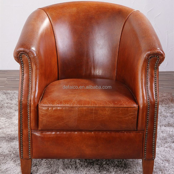 Junior Vintage Leather Brass Studded Armchair