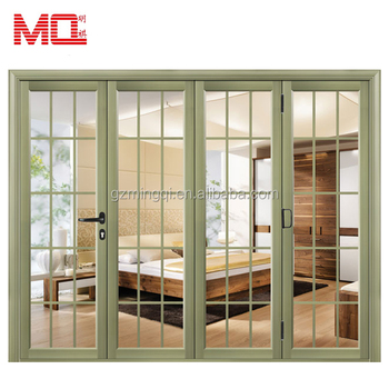 color customized aluminium folding french doors grill view