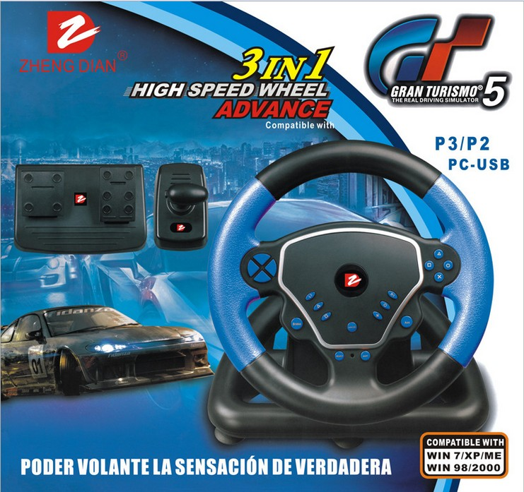 2014 new for ps3 steering wheel Vibration Racing Wheel For USB PS3 PS2