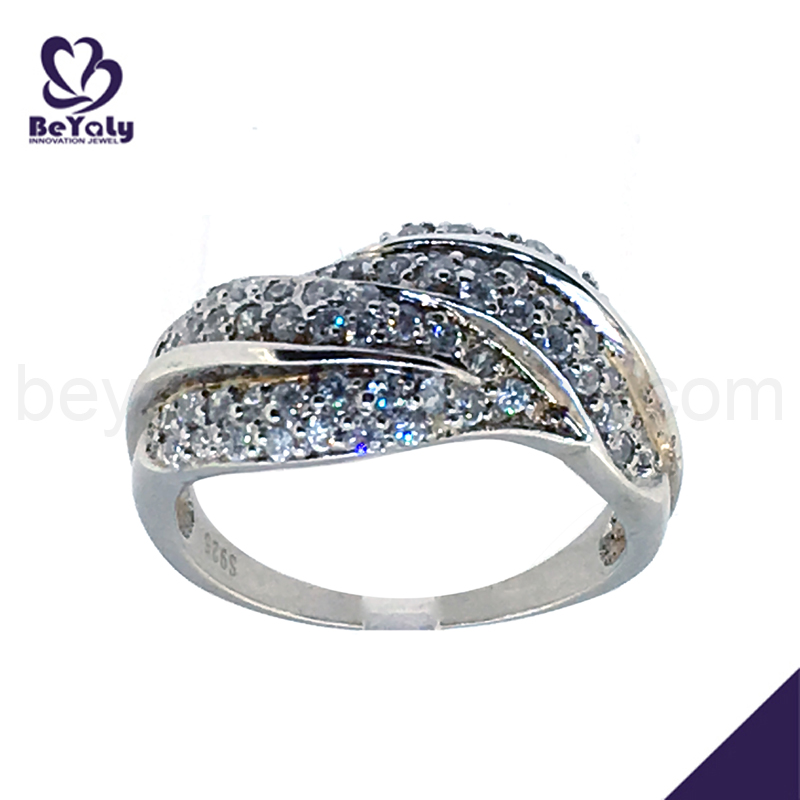 925 silver pave setting cz expandable wedding ring