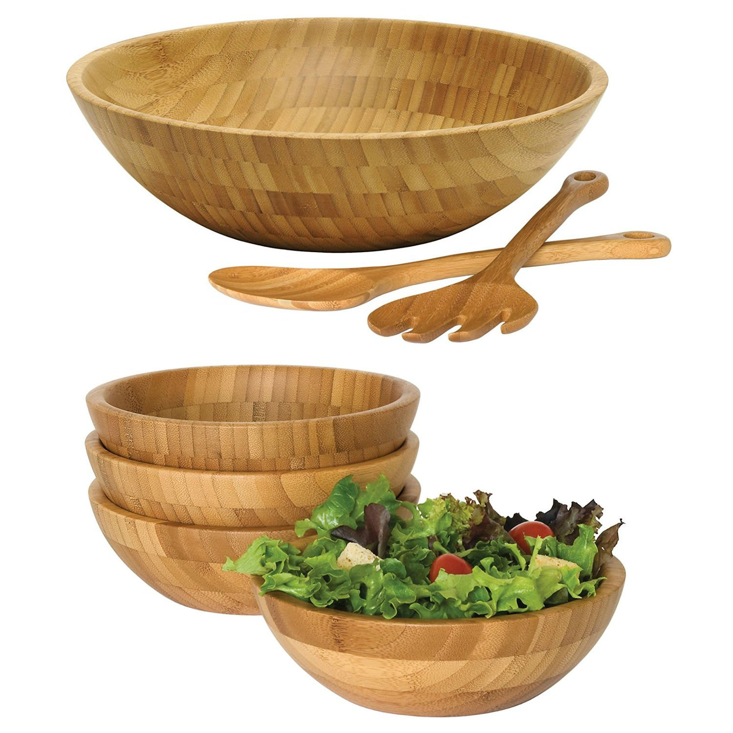 Set of Wooden Bamboo salad bowls, with serving hands and serving bowls, Includes Set of 4 Small Bamboo Bowls, and Bamboo Salad Bowl with Salad Servers – Best for the bamboo salad bowl lovers