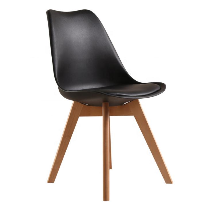 Modern black or white solid wood em es dining chair bentwood modern in restaurant chairs with soft pvc cushion