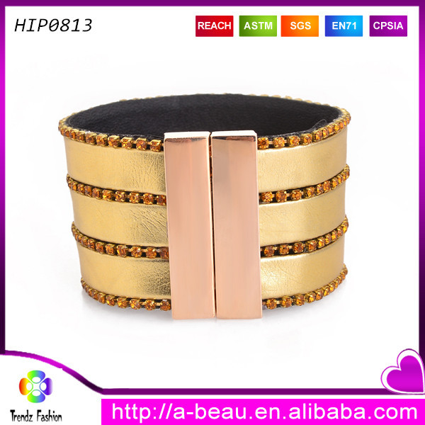 Super good leather wide bracelets gold color fascinating quality