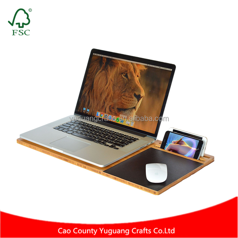 Thoughtful Design Comfortable Student Natural Wood Lap Desk Bamboo Slate for Laptop with Cooling and Mouse Pad