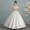 Cathedral Train Satin Sequined Beading Simple Western Wedding Dresses Off Shoulder Cap Sleeve Pleated Wedding Dress Ball Gown