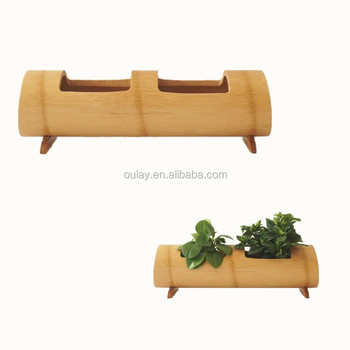 Home Hotel Restaurant Garden Decorative Diy Bamboo Wood Flower Pots Stand Vases With Two Rectangle Holes Pot Wooden