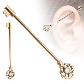 Popular Opal Bling Barbell Stainless Steel Fake Industrial Earring Piercing Jewelry View Earring Piercing Jewelry Zesen Product Details From Yiwu