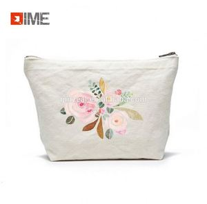 Customized Canvas Zippered Pouch make up bag promotional cosmetic bag