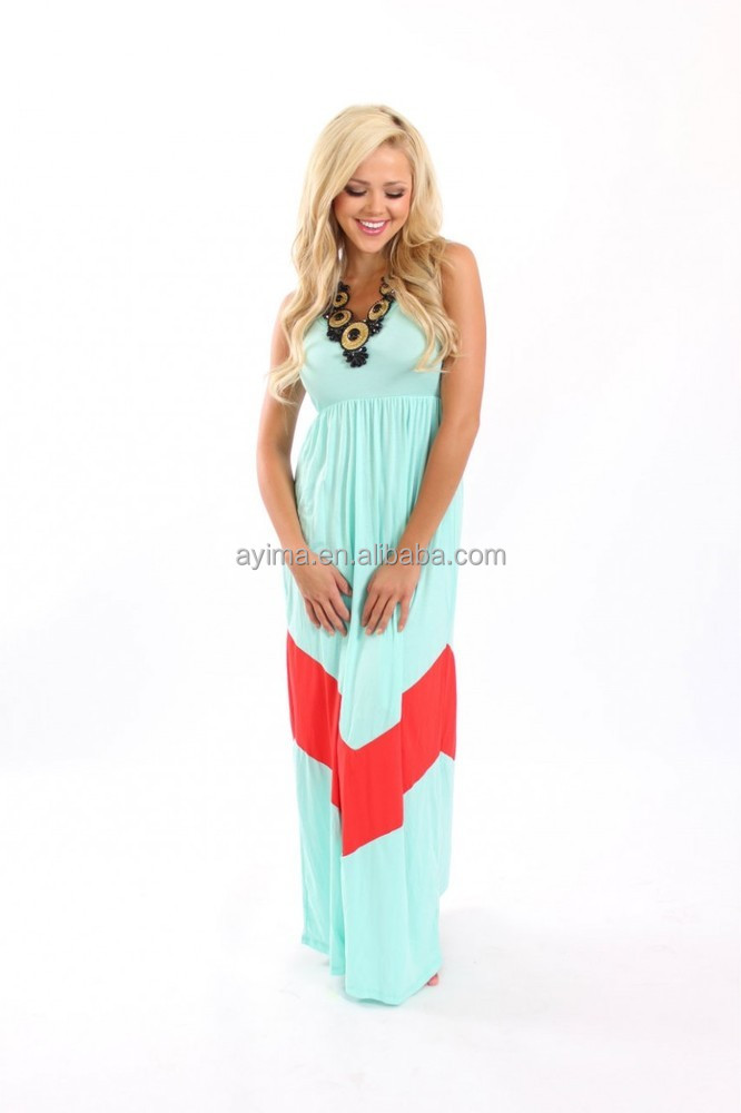 Mint And Dark Coral Color Block Chevron Maxi Dress Mommy And Me ...