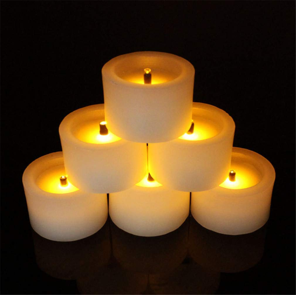 LUCKY CLOVER-A Flameless LED Candles Tea Lights,Flickering Candles Smokeless Candles Battery Party, Festivals, Weddings,Christmas Decoration,6pcs