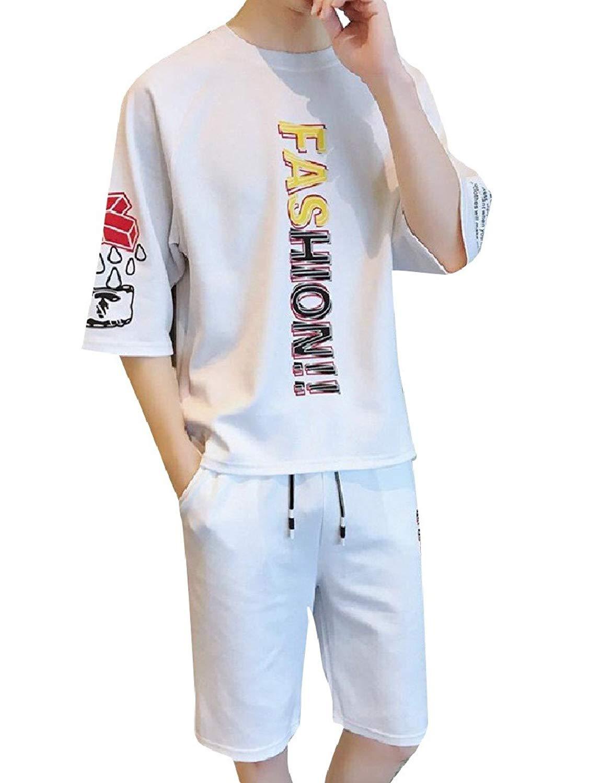 7532ddfa2078 Get Quotations · Zimaes-Men Short Sleeves 2 Piece Set Plus Size Letter Printed  Outfits Set