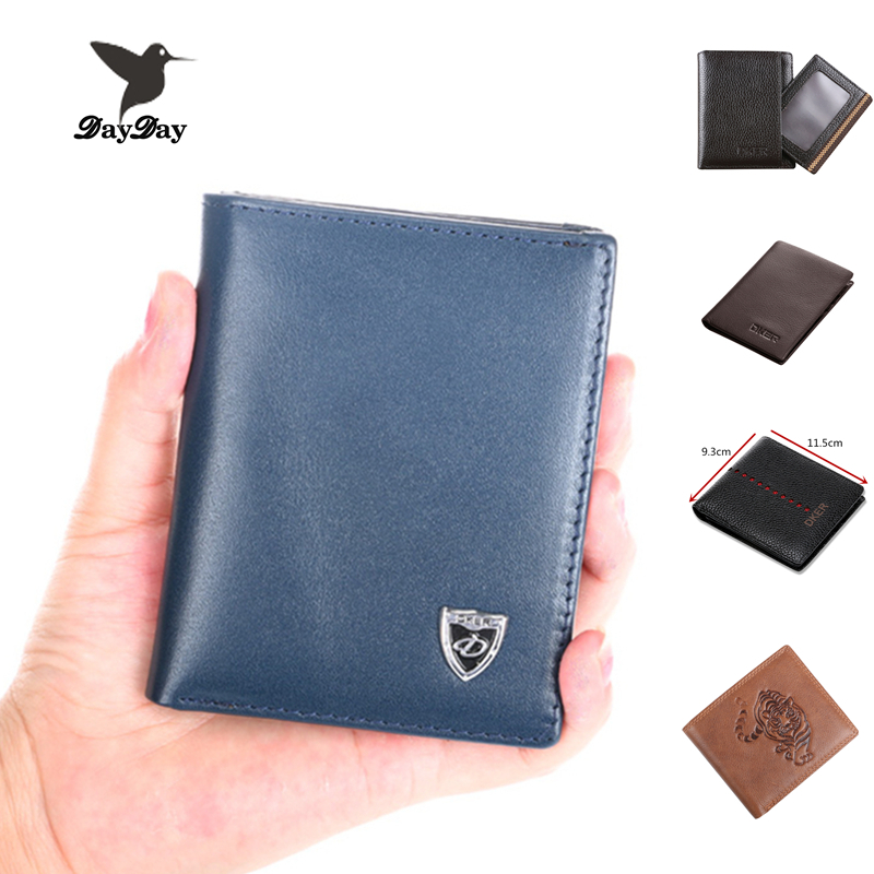 Men Wallets genuine leather solid mini purse Top Quality real cowhide Leather money bag Casual Fashion Credit Card Wallet HOT!