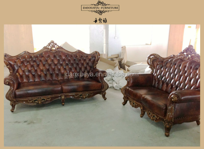 Red Leather Recliner Sofa Luxury Hand Carved Sofa Set