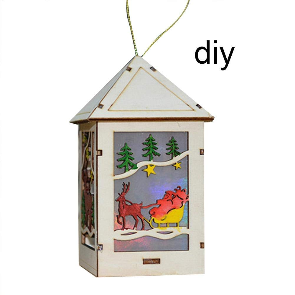 HOMDC Christmas Wooden Pendant LED Lights Cafe Bar Sleigh Log Cabin Ornaments Party Decorations Xmas Tree Ornaments Kids Gift