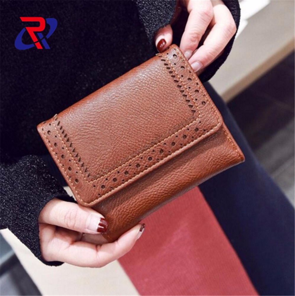 2017 ladies short style Trifold pu Leather <strong>Wallet</strong>
