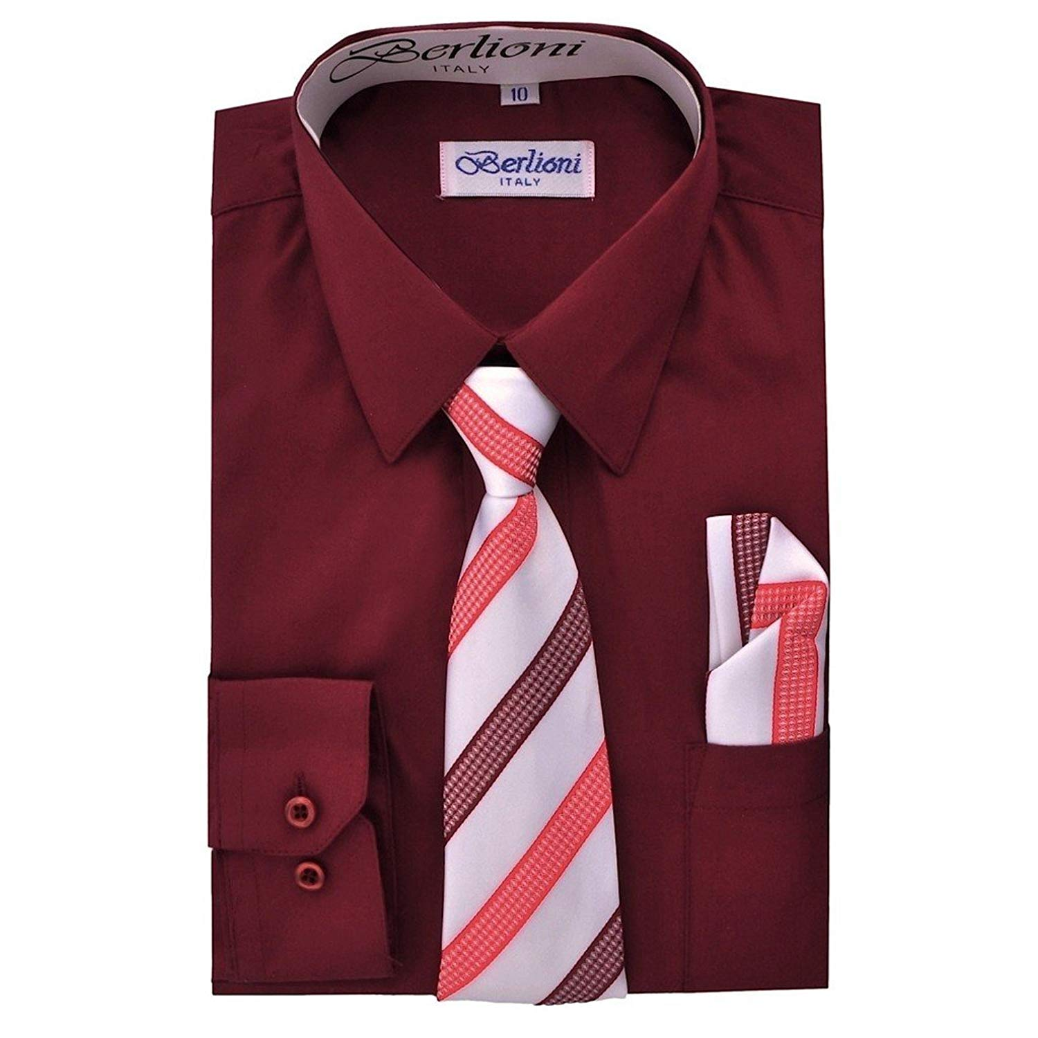 9a14ae145 Get Quotations · iGirldress Boys Solid Dress Shirt Tie and Hanky Set