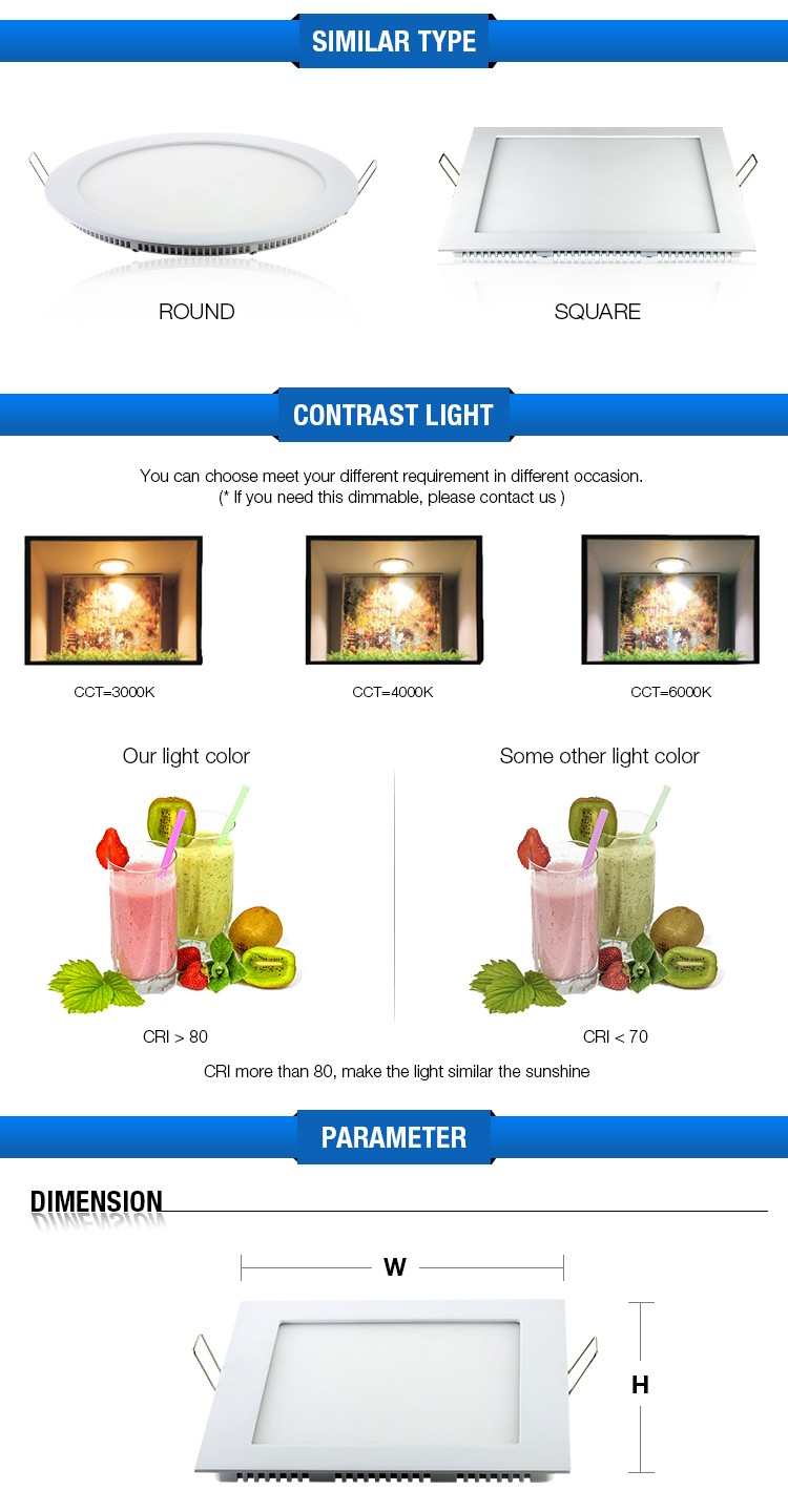 New Lighting 6w To 25w Embedded Led Downlight Ultraslim Square Led ...