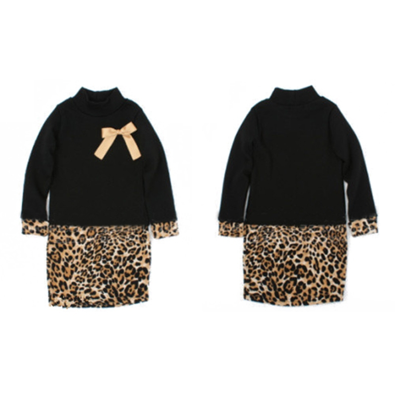 Top Fashion New Kids Girls Leopard Dress Cool Toddlers Long Sleeve One Piece Dress Bow Leopard Dress Costume Winter  2-6Y