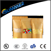 standing up kraft paper foil zip lock bags/plastic bag ziplock for food and snacks