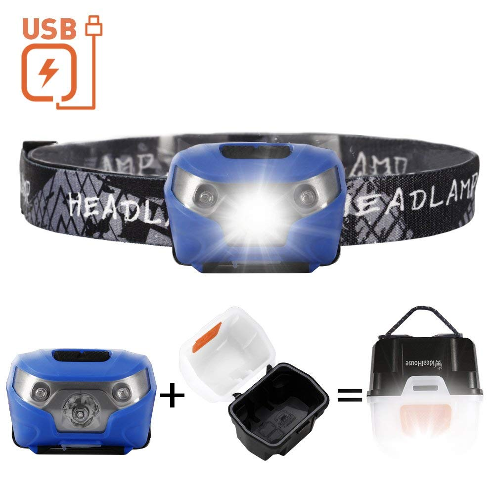 USB Rechargeable LED Headlamp, Idealhouse Waterproof Headband Flashlight,Lightweight Headlight Flashlight, Super Bright Head Torchlight for Running,Dog Walking,Riding,Camping,Blue
