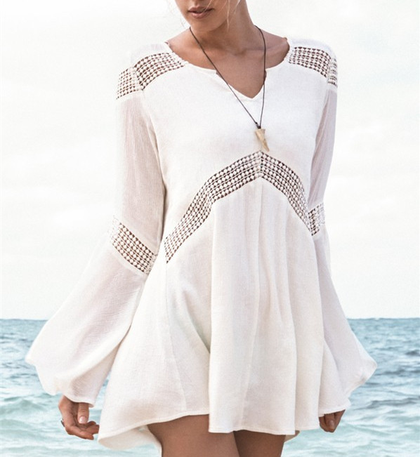 913a45f6cac5c Get Quotations · Women Cotton Blends Beach Cover Ups White Loose Long  Blouse Dress Trumpet Summer Swimsuits Bathing suits