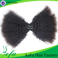 Dyeable natural soft great kinky curly brazilian remy human hair extension/weaving