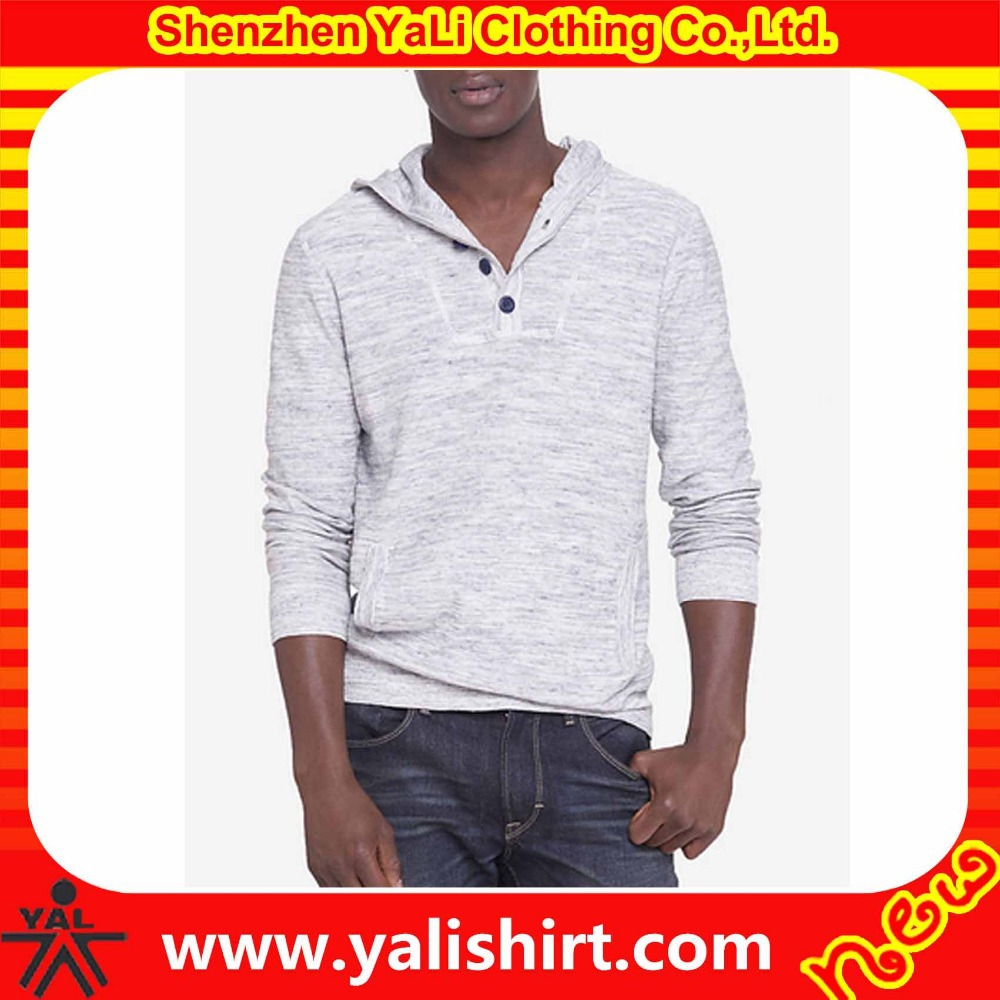 Top quality custom fashion heathered white pullover cotton/polyester button style hooded sweater designs pictures for men