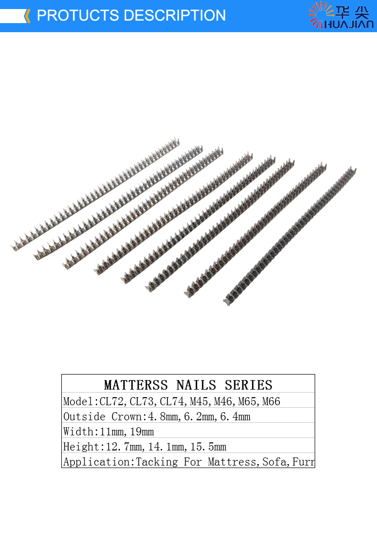 Vertex Fasteners M46 Galvanized Mattress Bed Spring Frame Nails Furnituring M66 Clip Staples