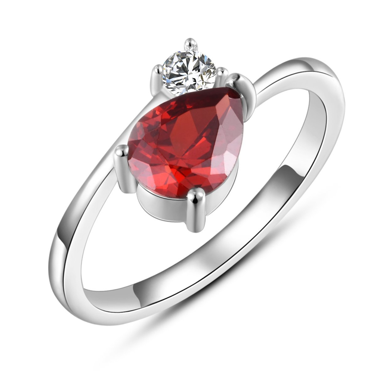 ZowBinBin 925 Sterling Silver Red Diamond Rings-Elegant Red Diamond Open Rings Adjustable for Women, Fashion Shinning Red Cubic Zirconia Silver Open Designer Rings/ Rings