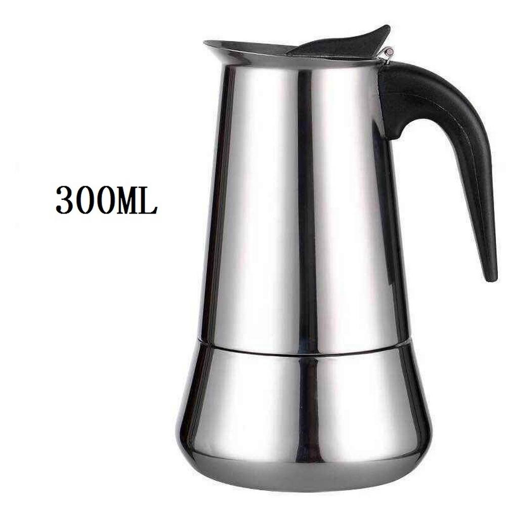 Итальянский чайник из нержавеющей стали Эспрессо, кухонный капельный чайник, кофе мокко заварник для чая кофе Moka Make Кофеварка 300 мл/450 мл(Китай)