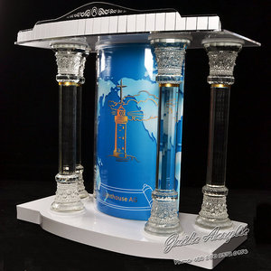 GUIHEYUN church furniture glass table church pulpit designs Exquisite Modern transparent Crystal lectern PODIUM
