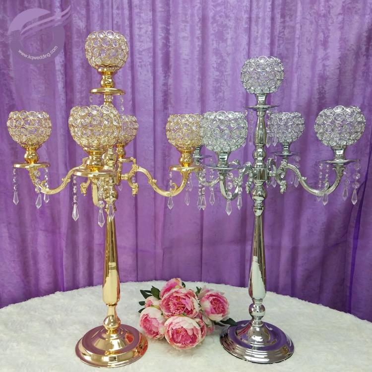ZT02220 Wholesale tall Wedding centerpieces gold 5 arms crystal candelabras