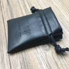 Custom Faux Black PU Leather Pouch , Leather Pouch Bag