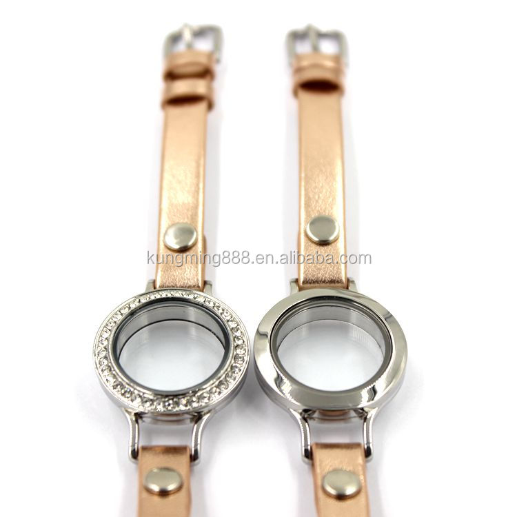 20/30 MM Fashion Floating Locket Leather Bracelet With diamond