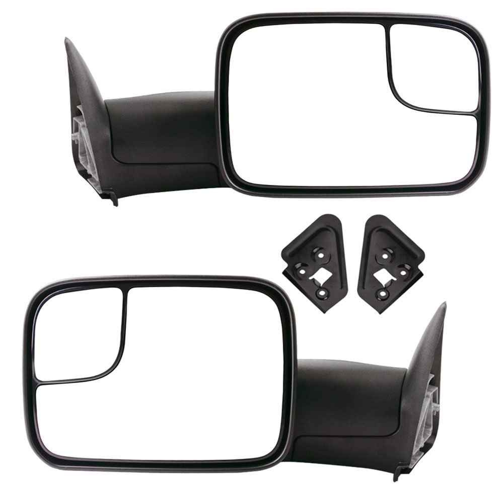 YITAMOTOR Towing Mirrors for 1994-2001 Dodge Ram 1500 1994-2002 Dodge Ram 2500 3500 Pickup Truck Manual Pair Set with Support Brackets