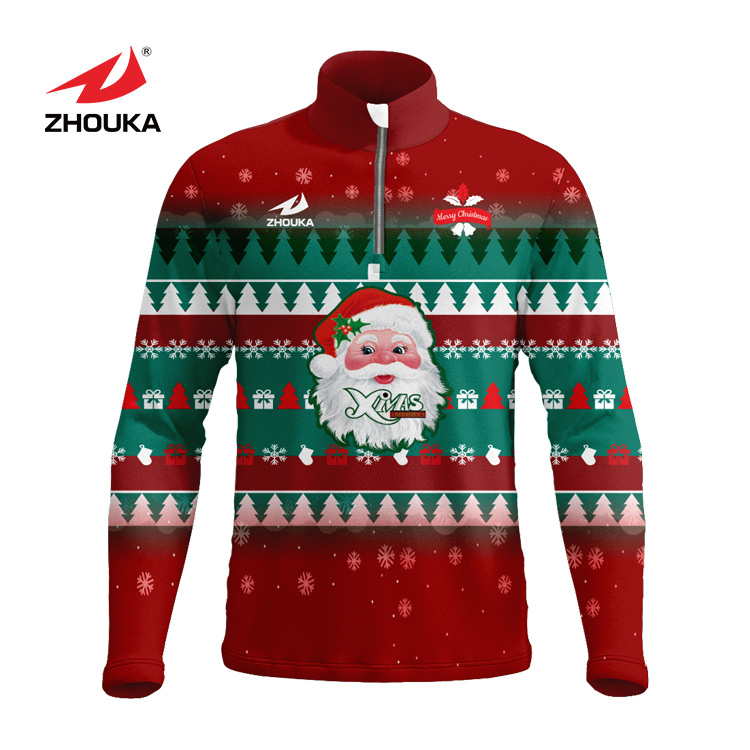 New arrival X'mas fancy custom digital full printed jacket hoodie