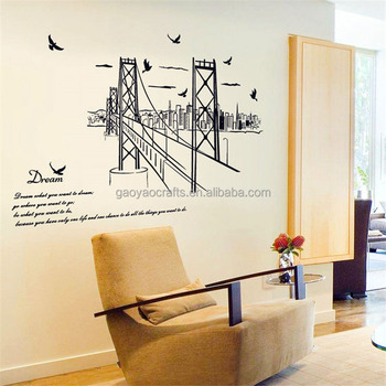 San Francisco Bridge Silhouette Large Wall Stickers Home Decor Living Room Bedroom Art Mural Removable