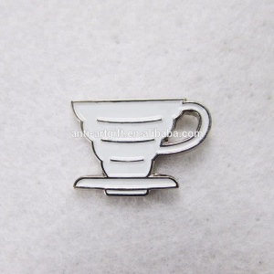 "OEM soft enamel coffee cup lapel pin with white 1"" No MOQ"